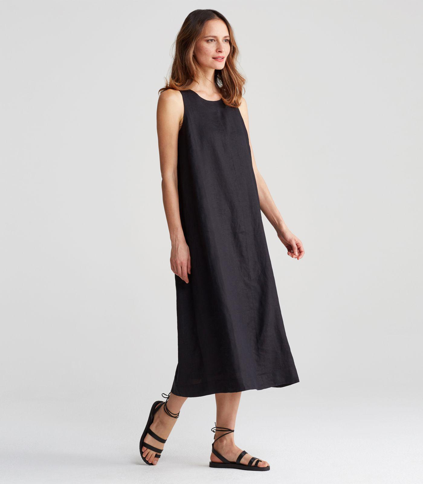 d0bc6621d23 Lyst - Eileen Fisher Organic Handkerchief Linen Round Neck A-line ...