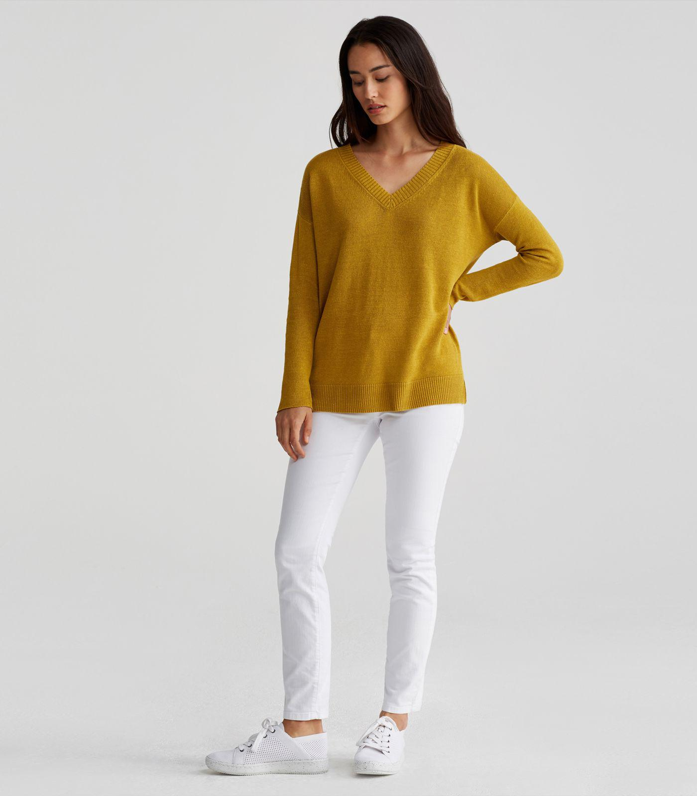 Eileen Fisher Organic Linen Knit V Neck Sweater In Yellow