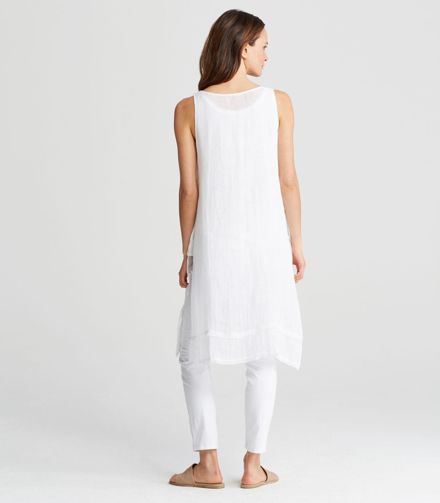 63e33e841f0 Eileen Fisher Organic Linen Gauze Bateau Neck Sleeveless Tunic in ...