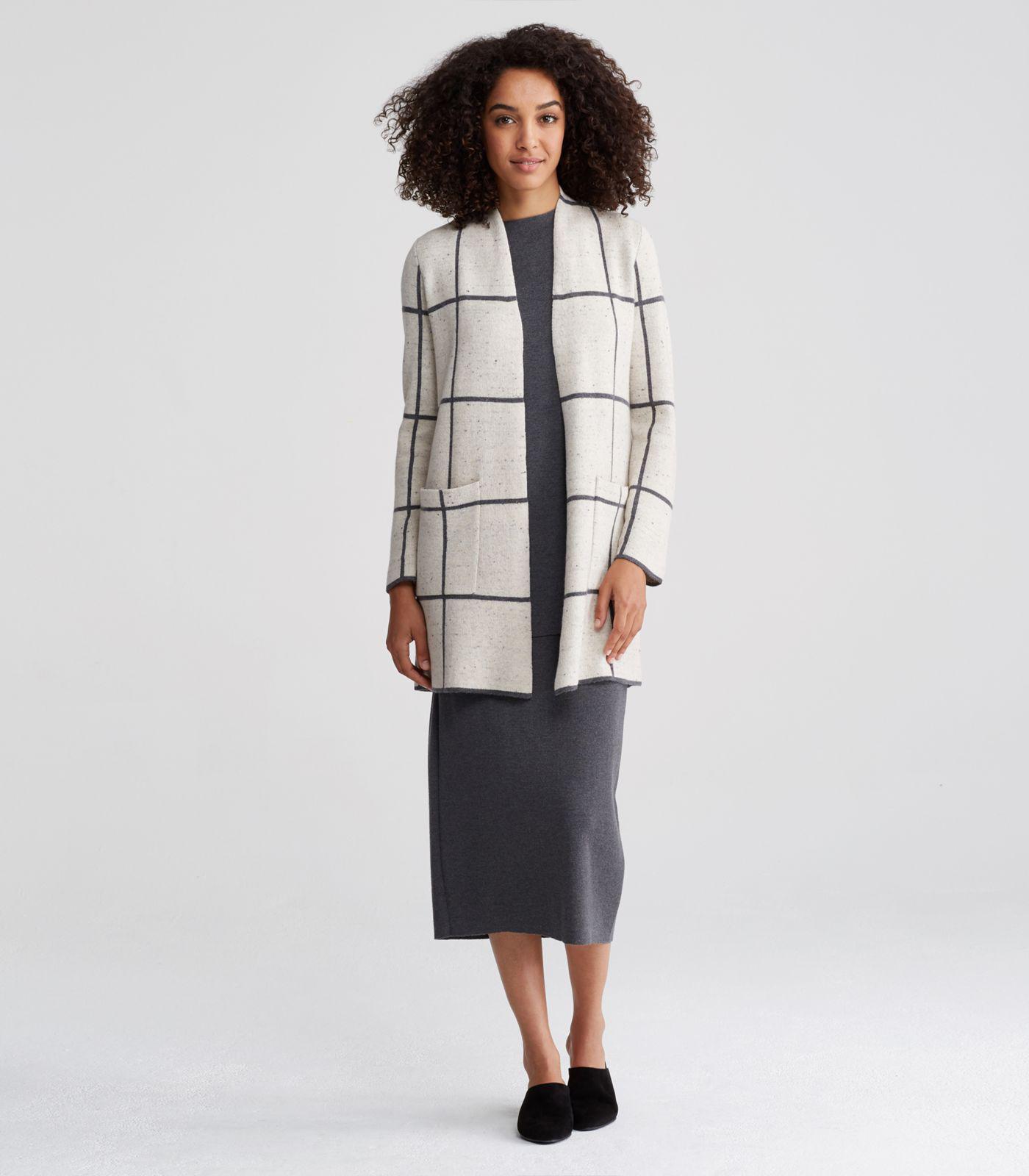11fbb97eb41 Lyst - Eileen Fisher Peppered Organic Cotton Wool Long Kimono Cardigan