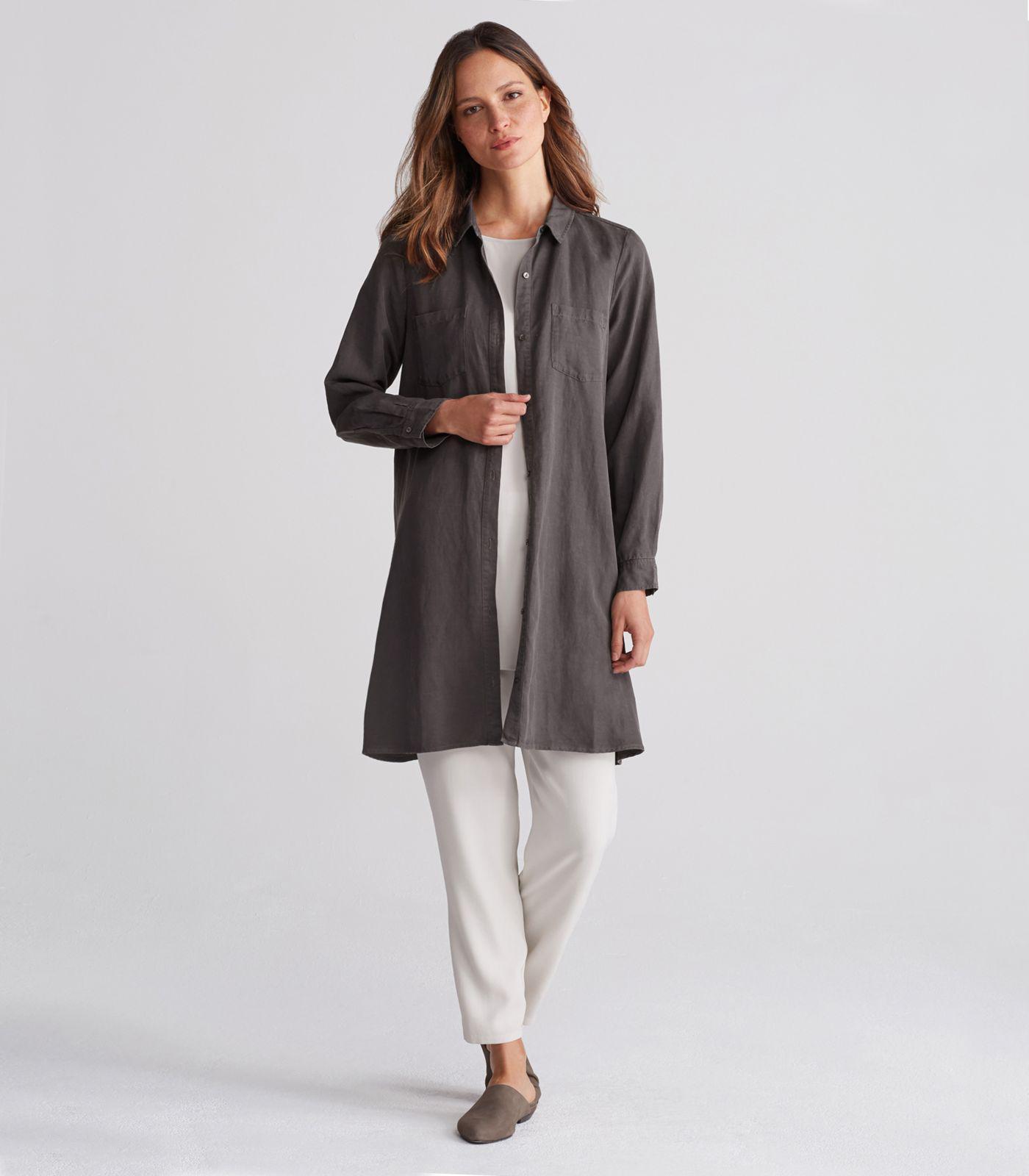 1cc3b1cdd44 Eileen Fisher Linen Classic Collar A-line Shirt Dress in Black - Lyst