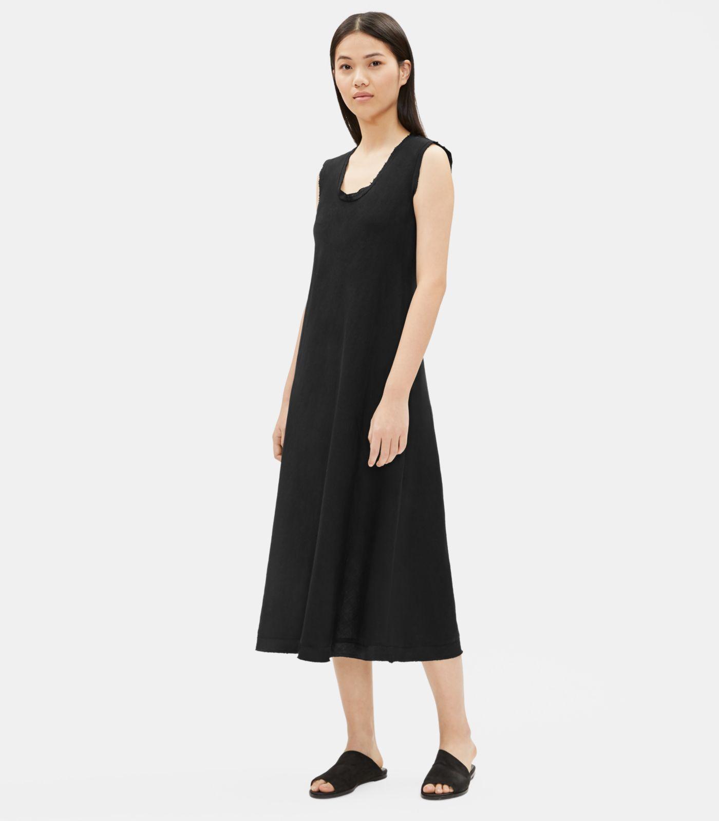 031d0f05ff Lyst - Eileen Fisher Organic Handkerchief Linen Raw-edge Dress in Black