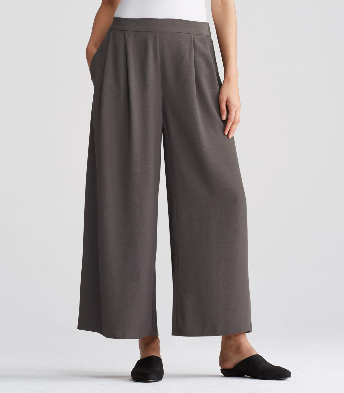 06485d8e4b1 Lyst - Eileen Fisher Tencel Viscose Crepe Wide-leg Ankle Pant in Gray