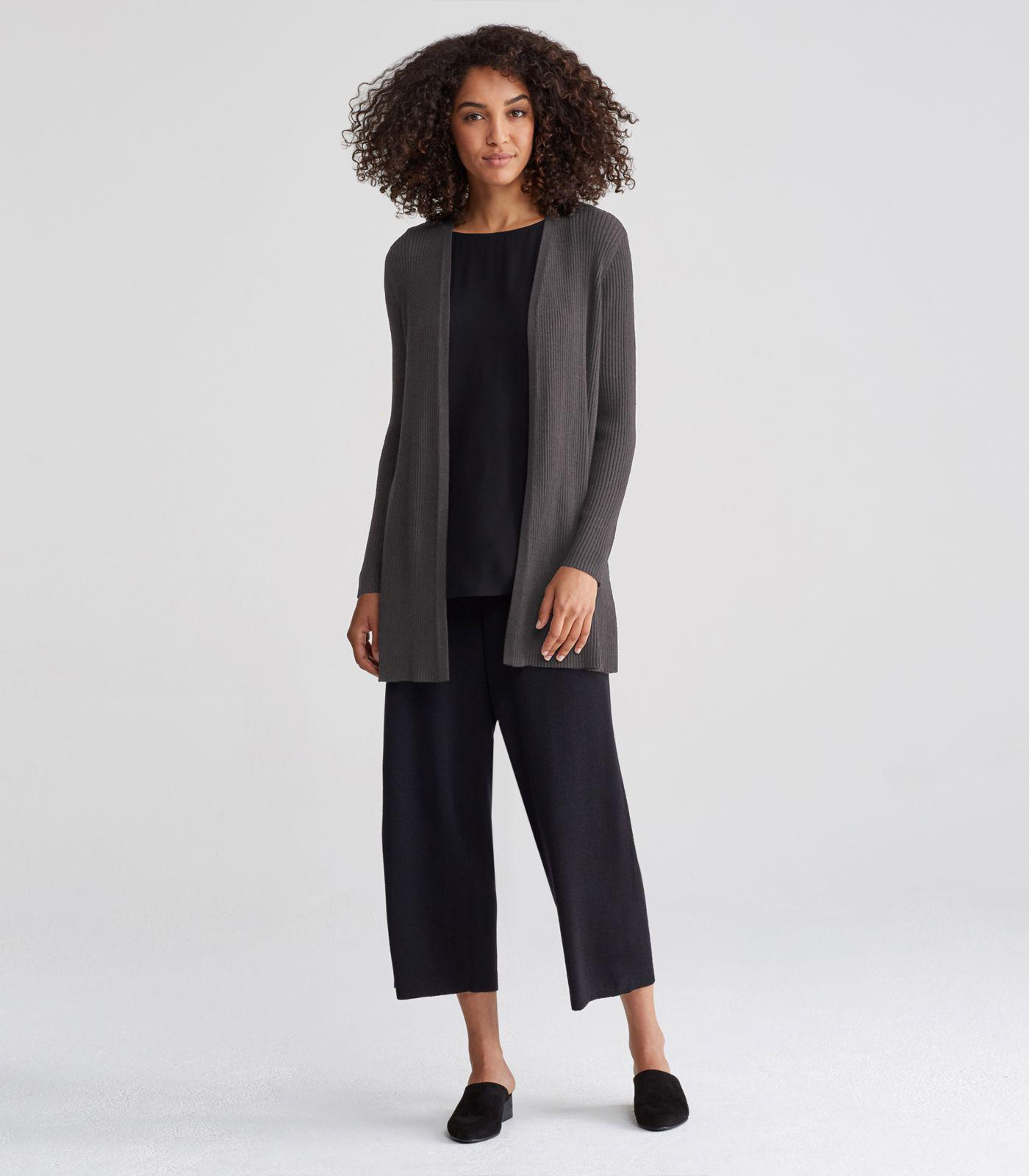 Eileen fisher Washable Wool Crepe Rib Straight Long Cardigan | Lyst