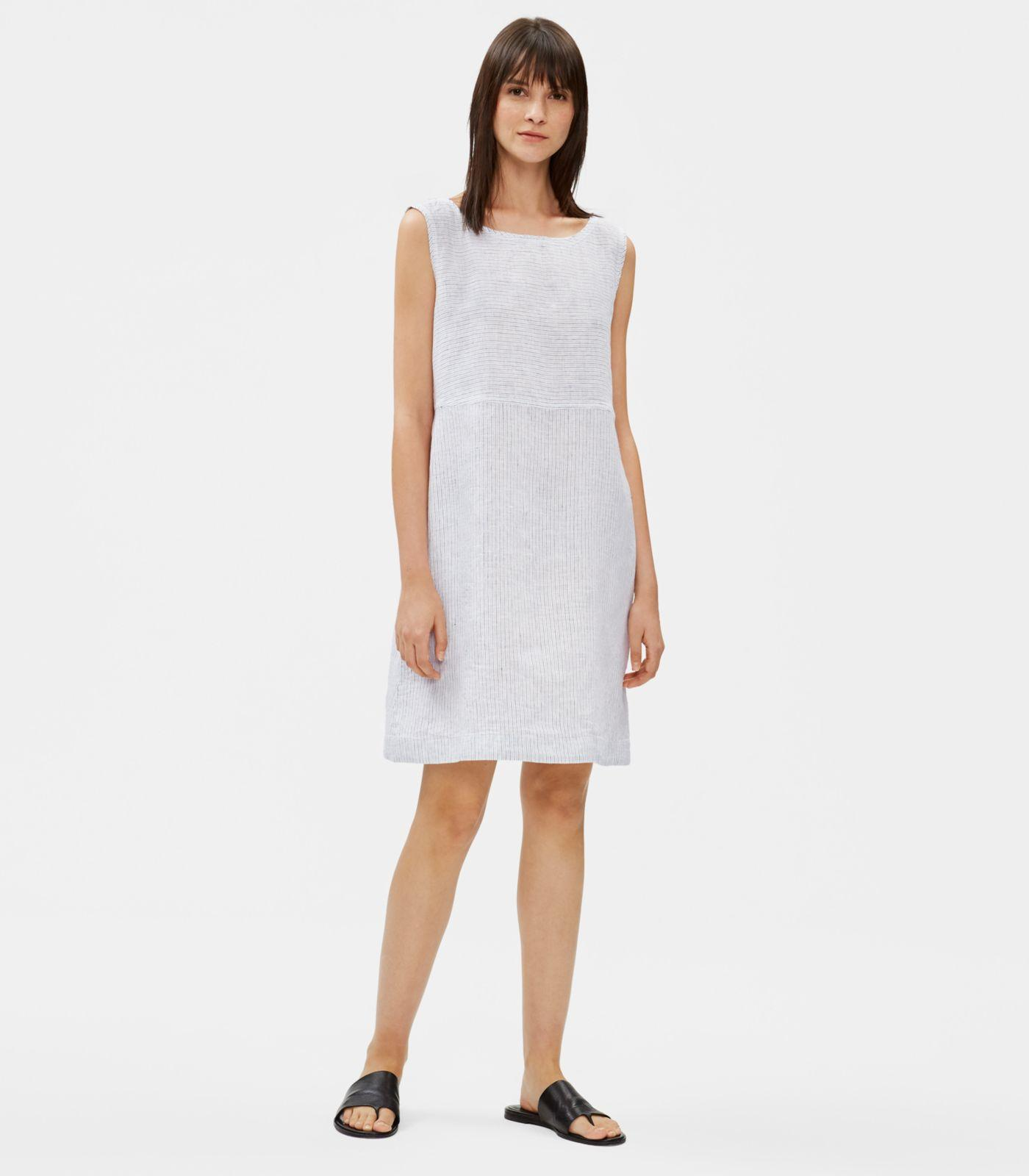 fd6d4591126 Lyst - Eileen Fisher Organic Handkerchief Linen Striped Dress in White