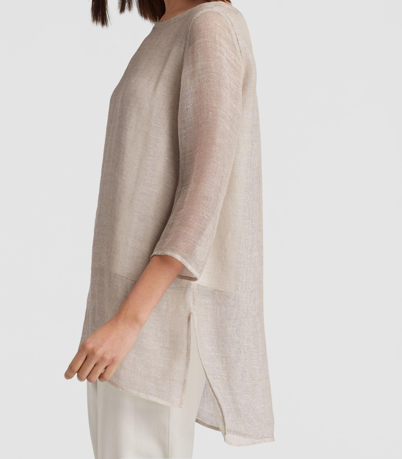 54efaa5743 Lyst - Eileen Fisher Organic Linen Mesh A-line Tunic in Natural