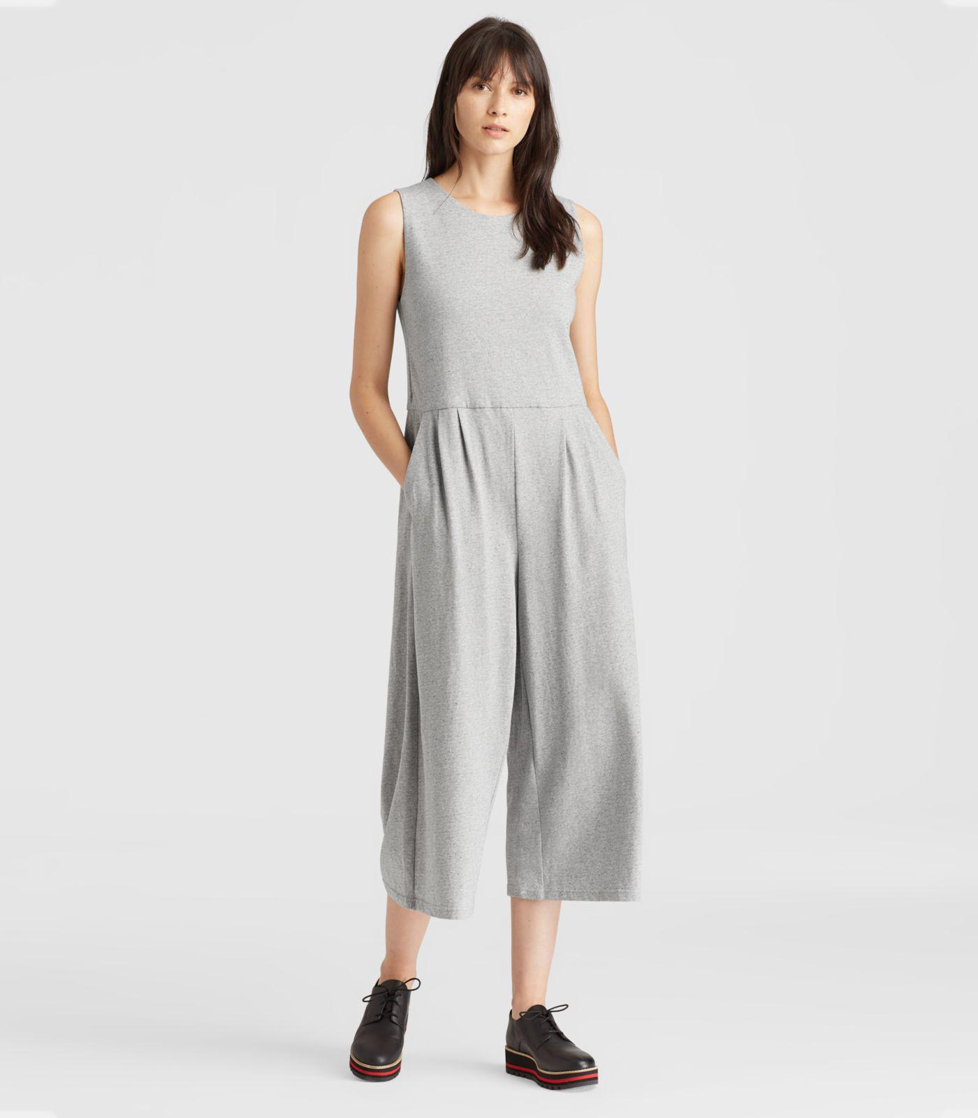 5e7e10307c03 Lyst - Eileen Fisher Speckled Organic Cotton Jumpsuit in Gray