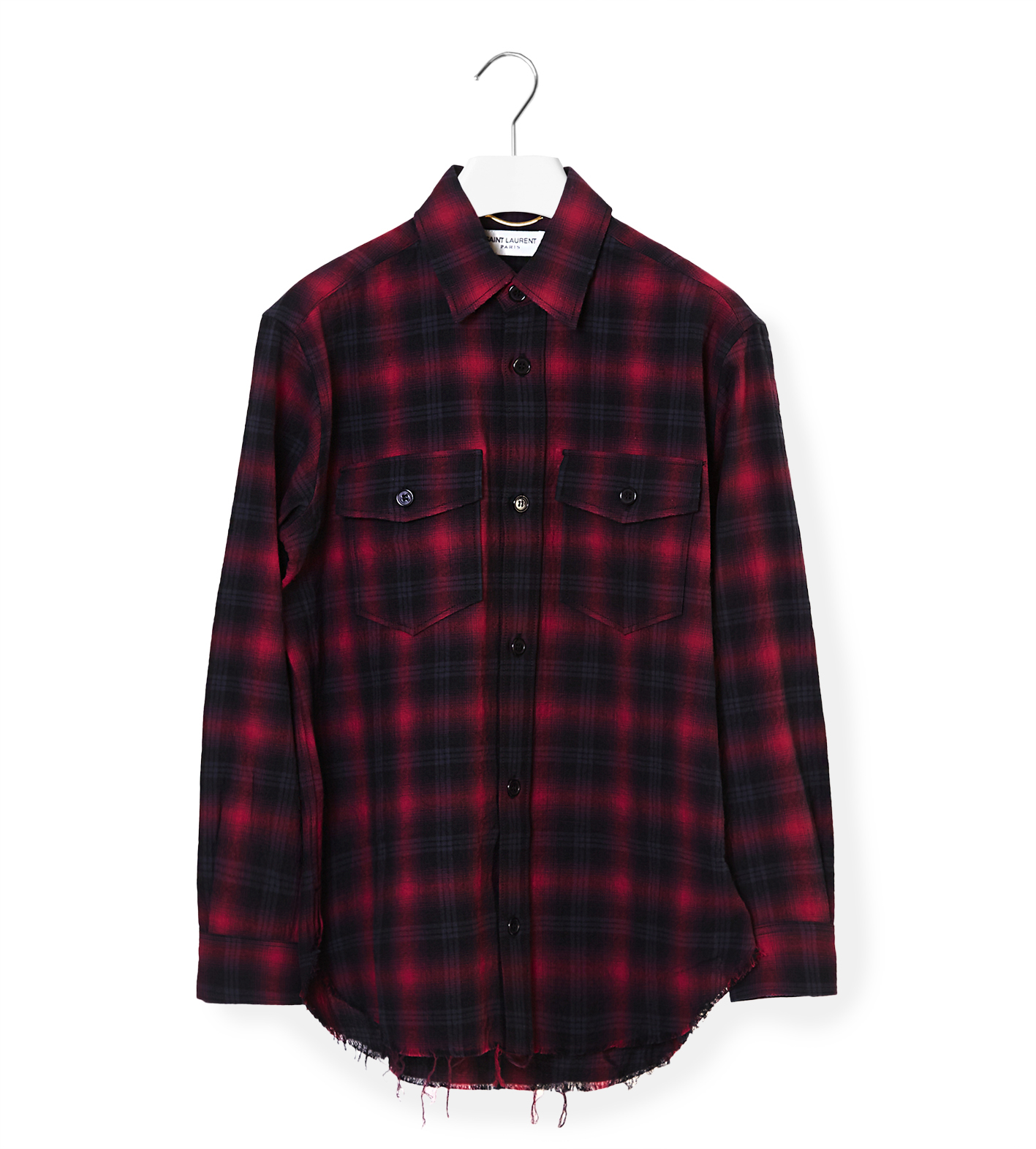 Saint laurent check shirt in black lyst for Saint laurent check shirt