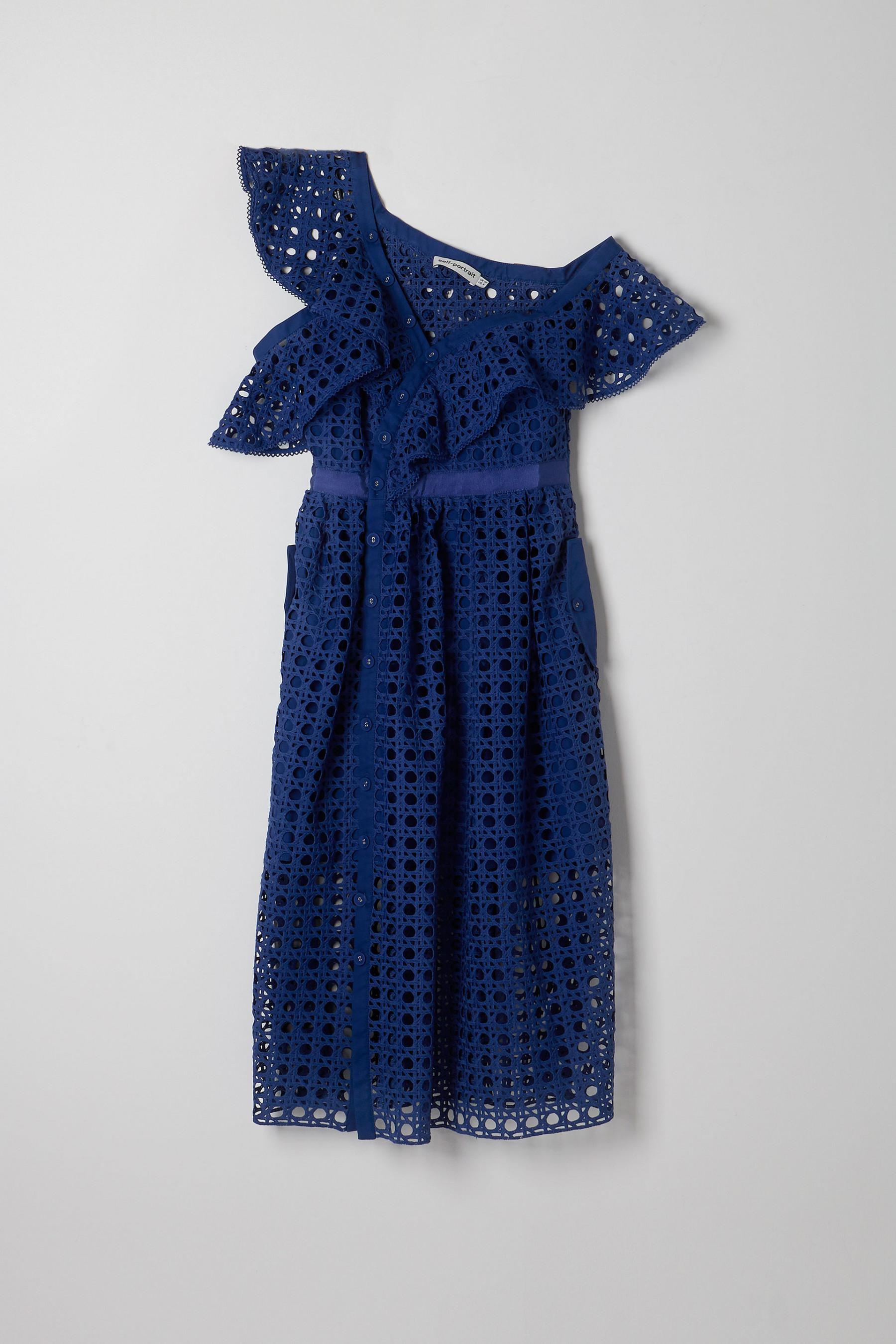 c86a03f24969 Self-Portrait Guipure Frill Dress in Blue - Lyst
