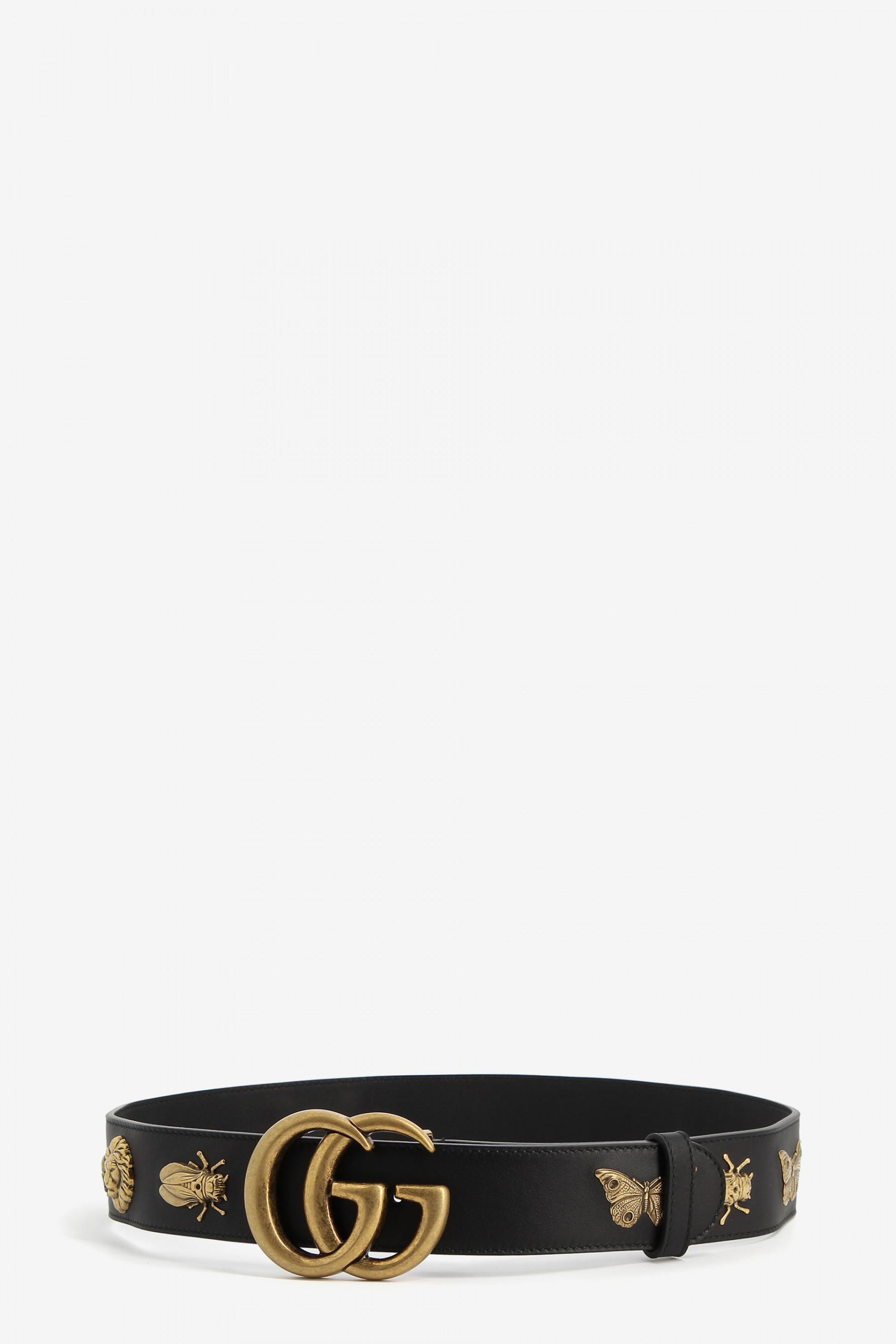 d712c042d63 Lyst - Gucci Leather Belt With Animal Studs in Black