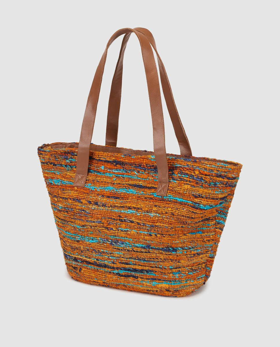 45f834da4144 El Corte Inglés Orange Shari Fabric Shopper Bag - Lyst
