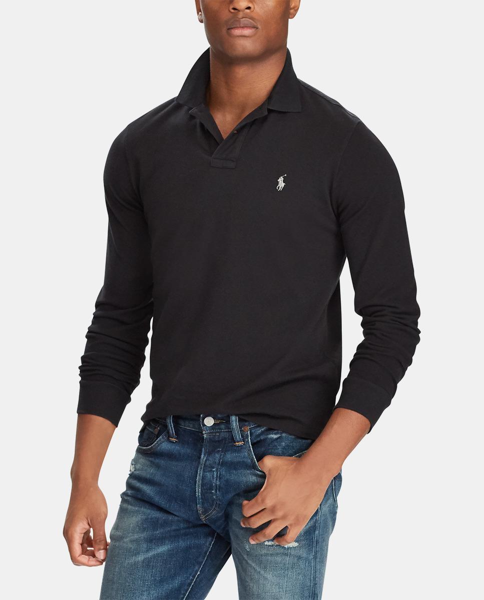 f795ba4672a1 Polo Ralph Lauren Black Long Sleeve Regular-fit Piqué Polo Shirt in ...