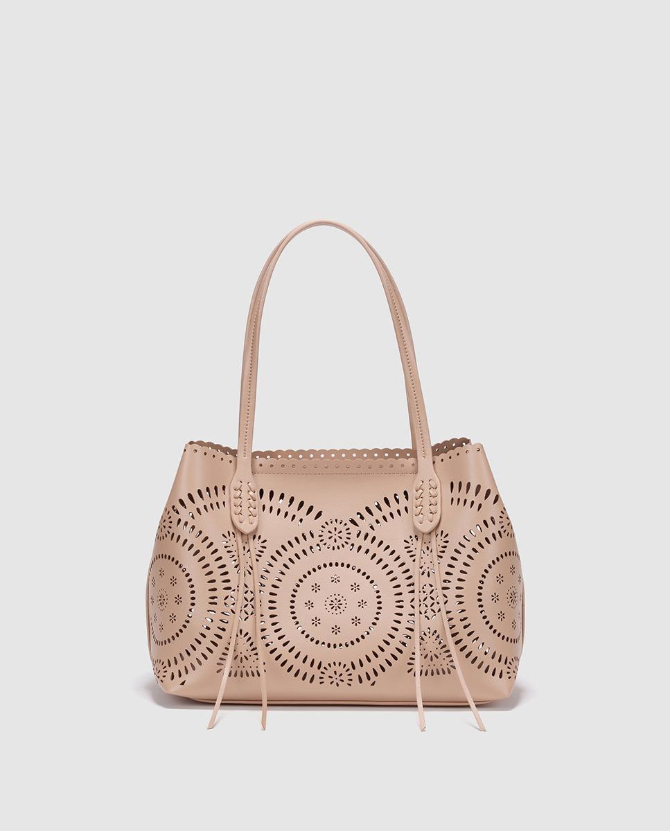 El Corte Inglés Nude Shopper Bag With Decorative Strips And Cutwork ... 5ec1c5ac59c76