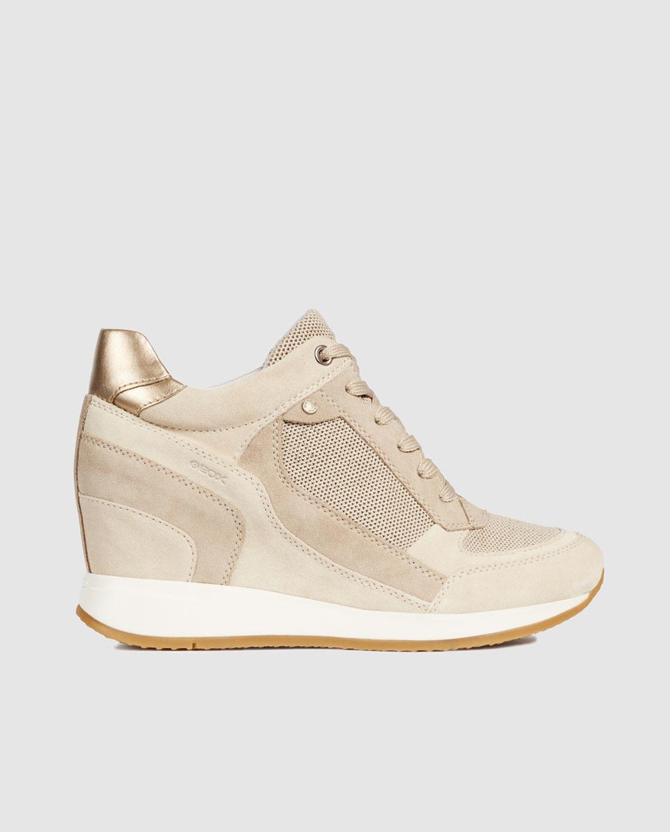 e53af751 Geox. Women's White Zapatillas De Piel De Mujer Nydame De Colour Blanco Con  Cuña Interior. Modelo Exclusivo Online.