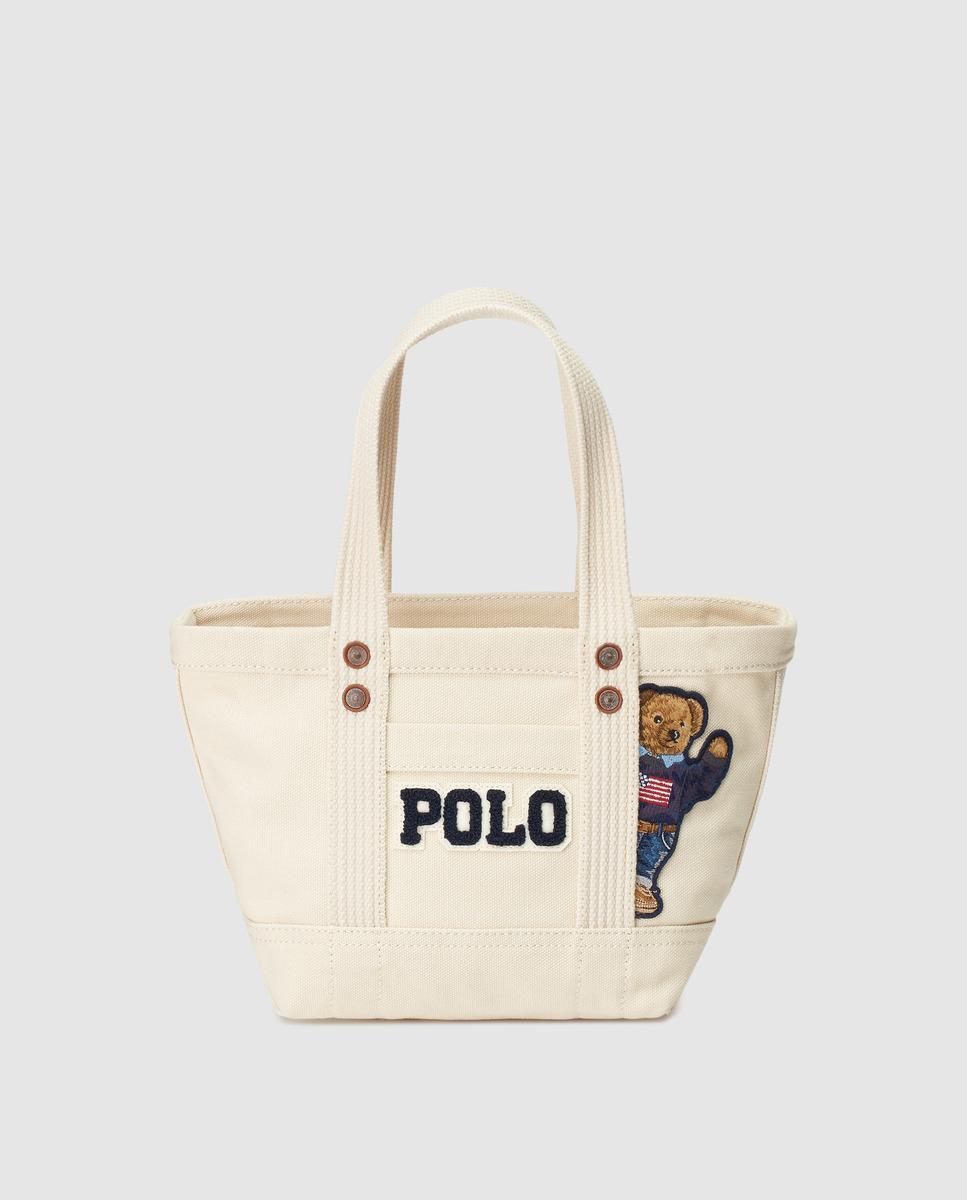 d07b8510c839 Lyst - Polo Ralph Lauren Beige Canvas Mini Tote Bag With Bear Patch ...