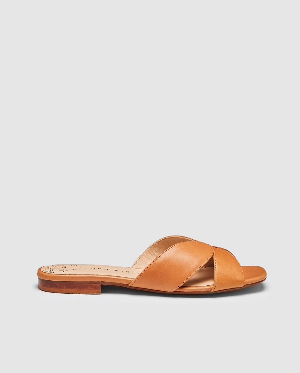 c39864bcfeb6 Pedro Miralles Camel Leather Flat Sandals in Brown - Lyst