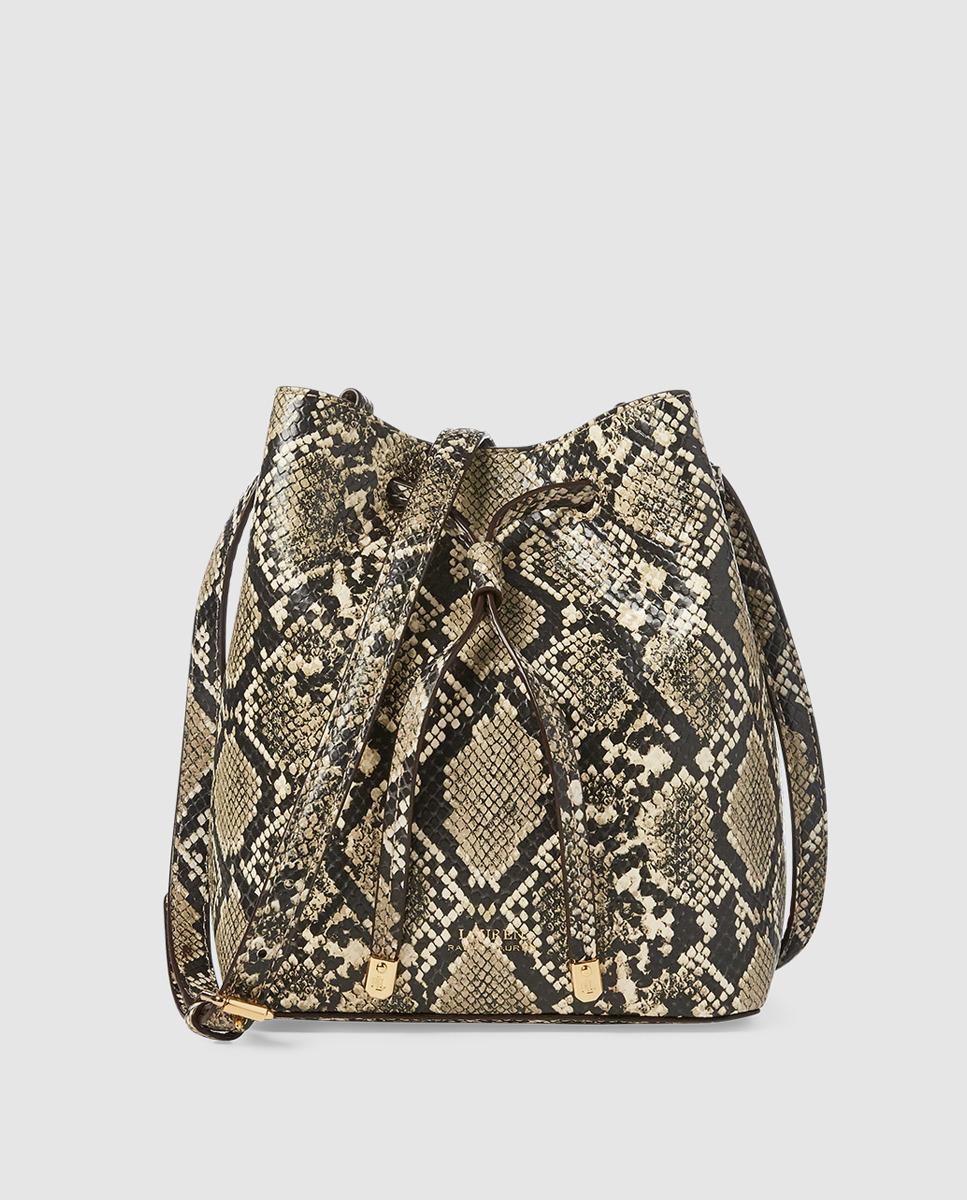 42eae91d03f7 Lauren by Ralph Lauren. Women s Small Calfskin Leather Snakeskin Print  Beige Bucket Bag