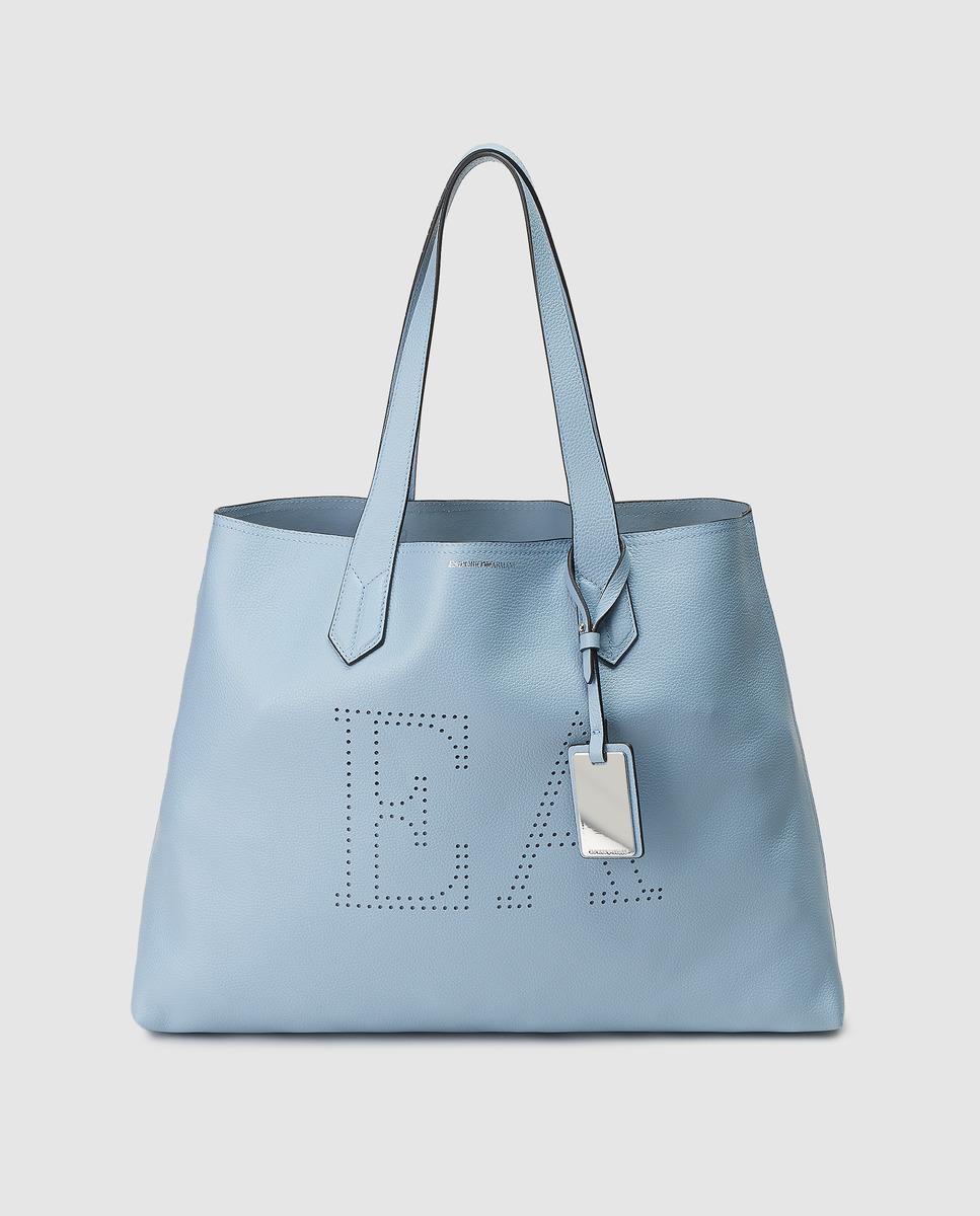 Lyst - Emporio Armani Light Blue Leather Maxi Tote Bag in Blue af914aa4e7