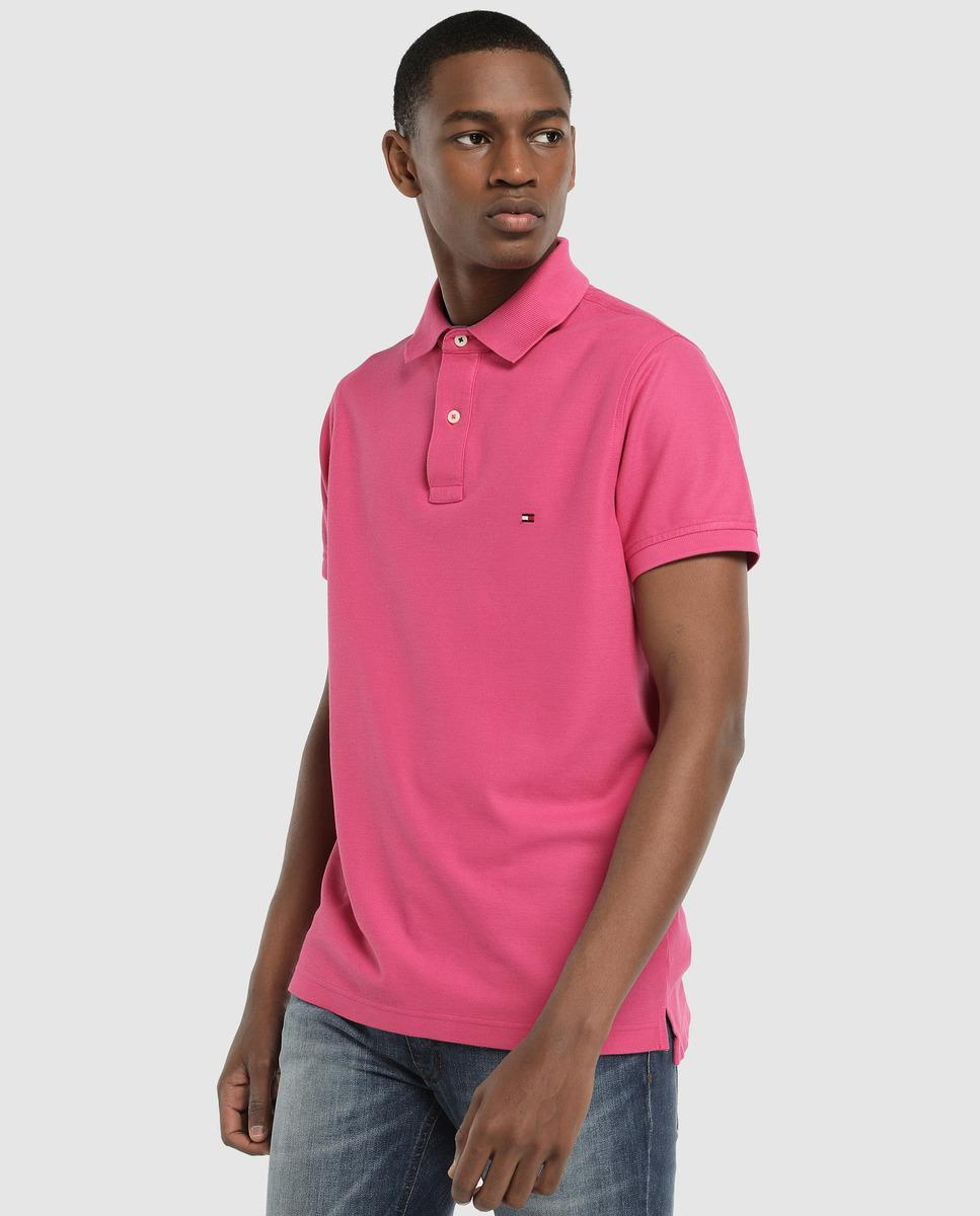 7a2fd1da Lyst - Tommy Hilfiger Slim-fit Pink Short Sleeve Piqué Polo Shirt in ...