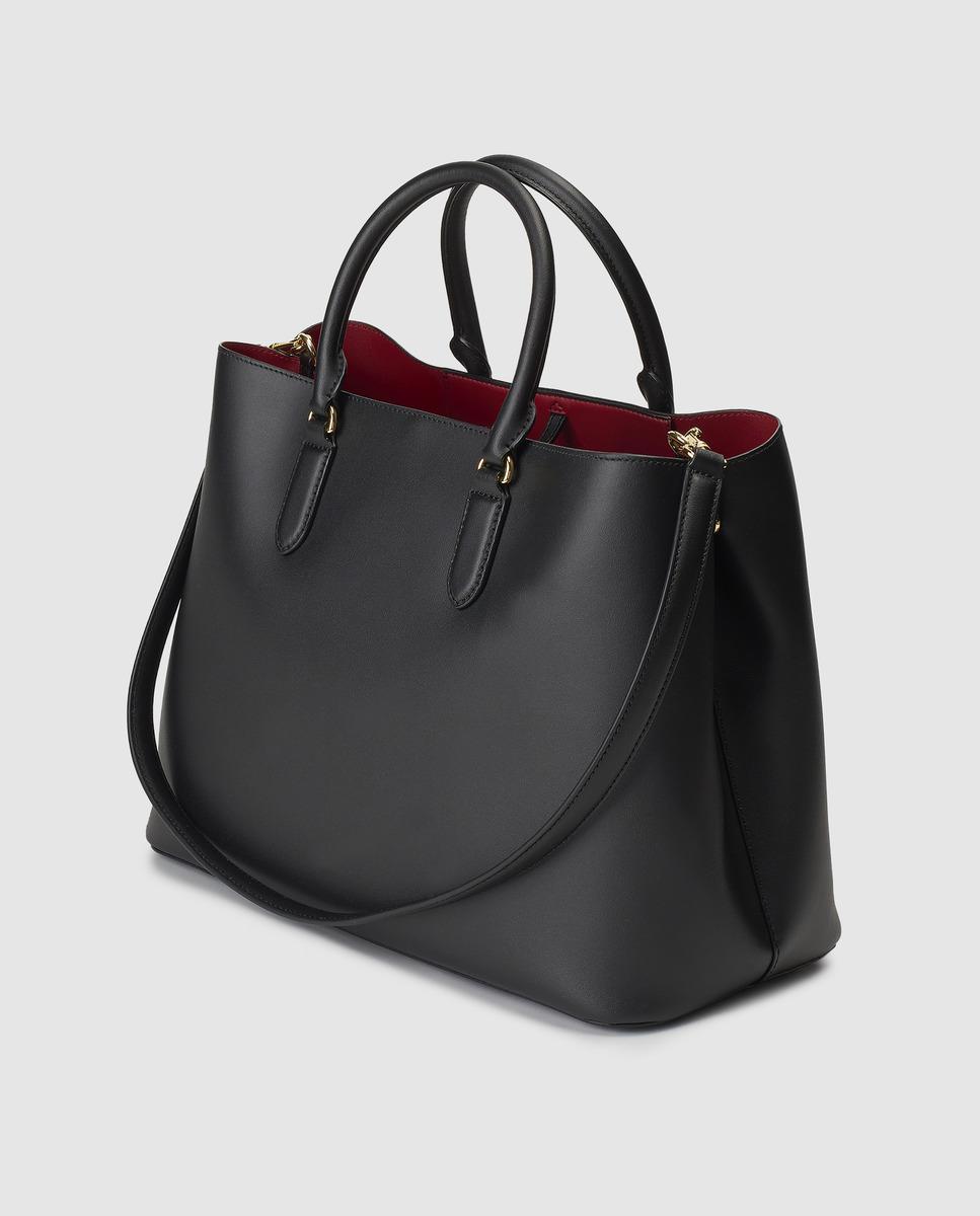 Lauren by Ralph Lauren Black Leather Handbag With Red Interior in Black -  Lyst 83baf0eae4