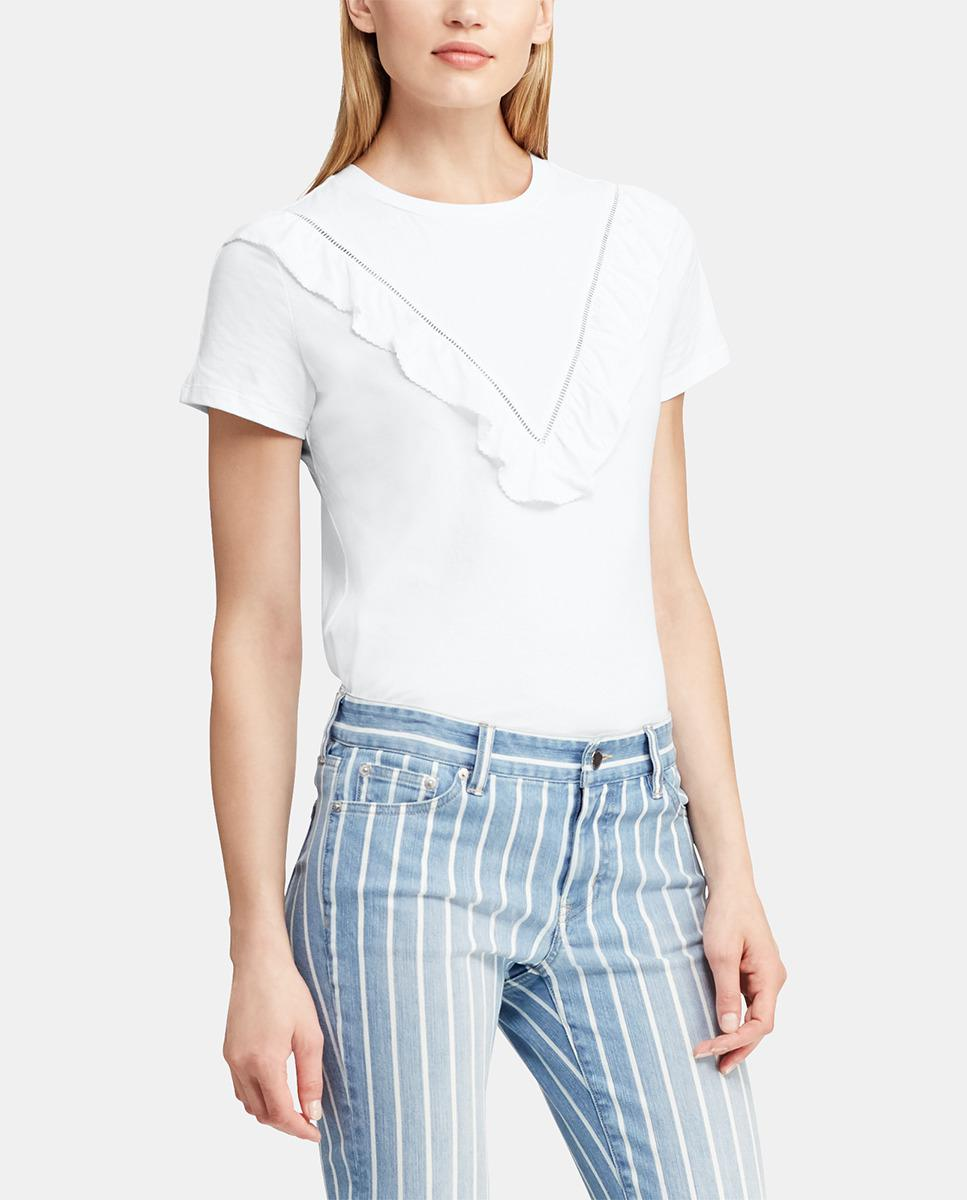 a9cfbcc5778dd1 Lauren by Ralph Lauren White T-shirt With Frill And Openwork in ...
