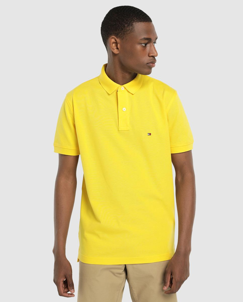 7fab3fe11 Tommy Hilfiger Regular-fit Yellow Short Sleeve Piqué Polo Shirt in ...