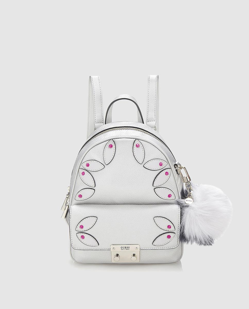 e047b80237f9 Lyst - Guess Wo Small Silver Backpack With Pompom in Metallic