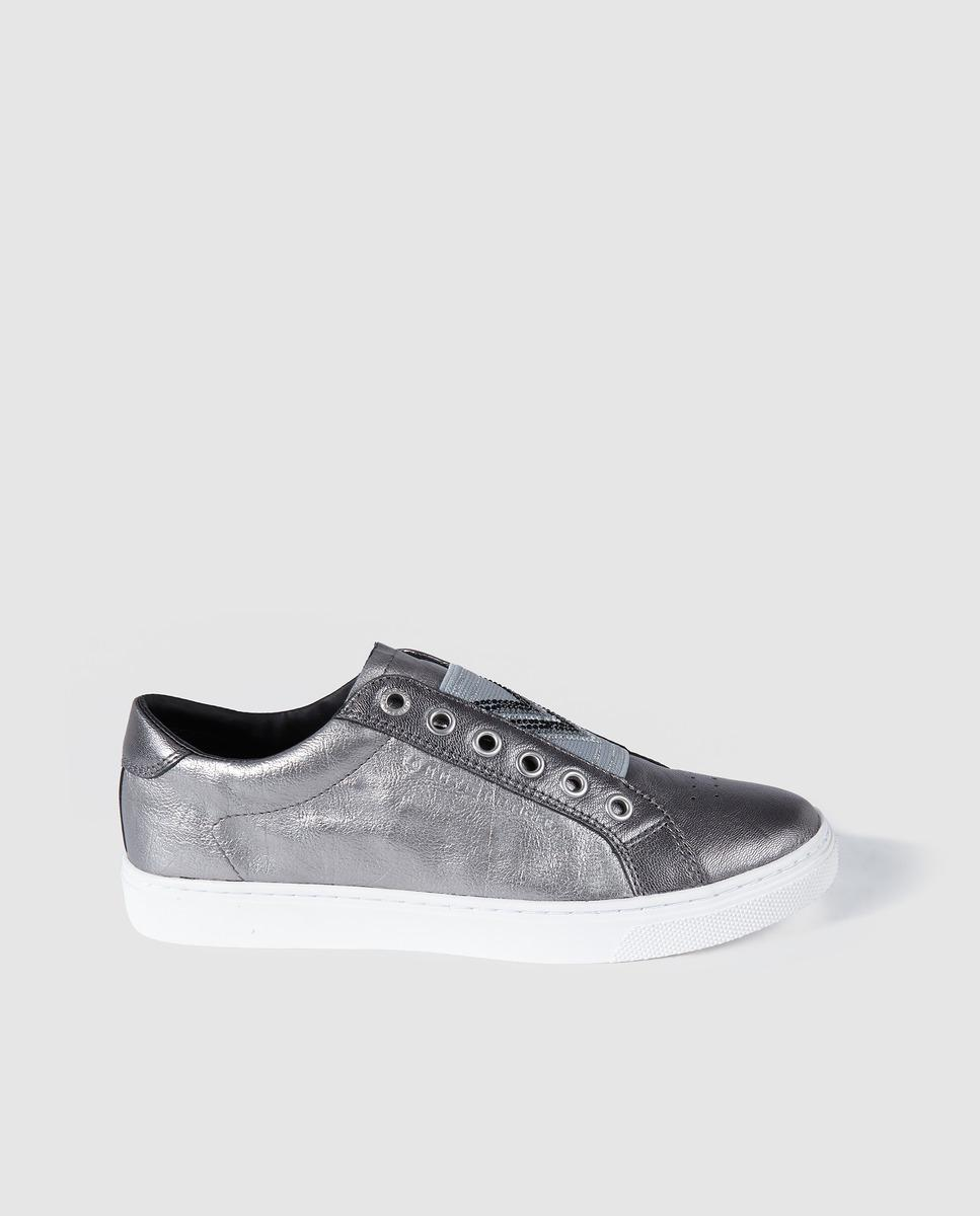 bba7ec6cce90dd Tommy Hilfiger Metallic-effect Silver Leather Trainers in Metallic ...