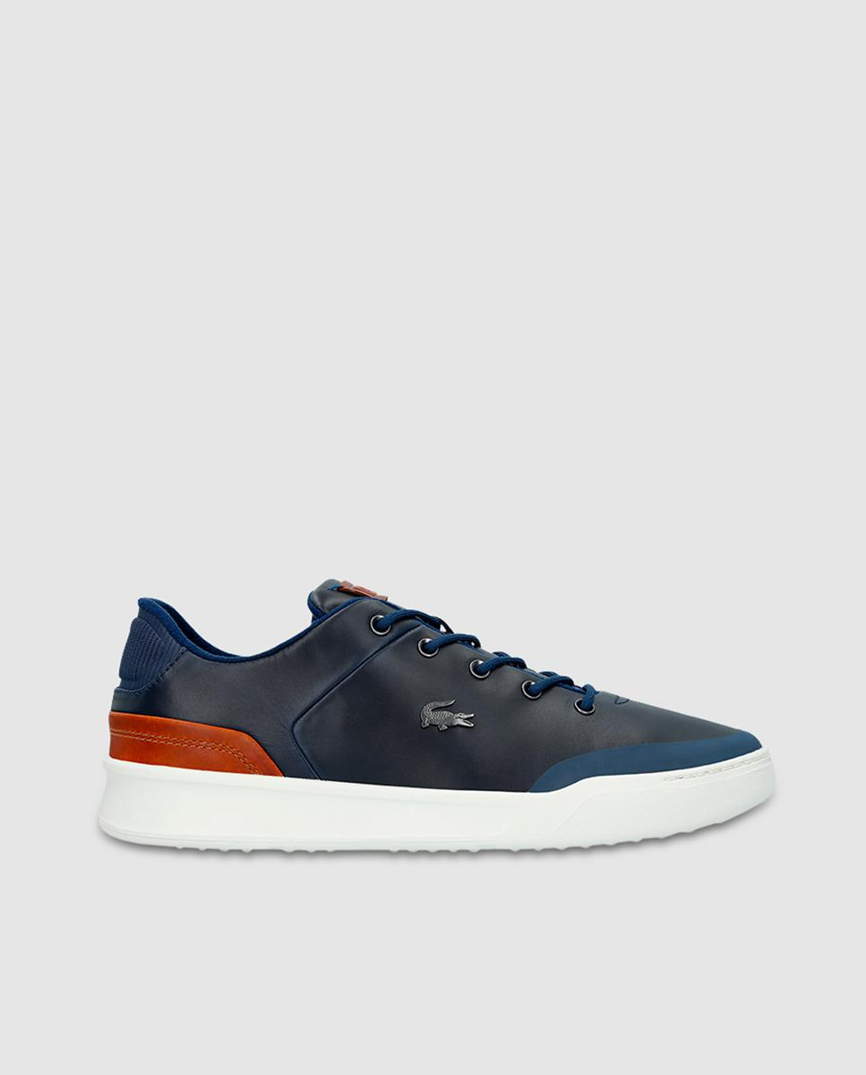 b5b49b42f7b0 Lacoste Navy Blue Leather Trainers in Blue for Men - Lyst