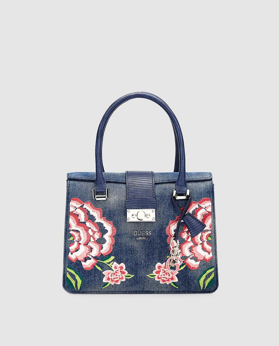 7c9261a9e3b9 Guess Elia Small Satchel Bag Denim Blue In Lyst