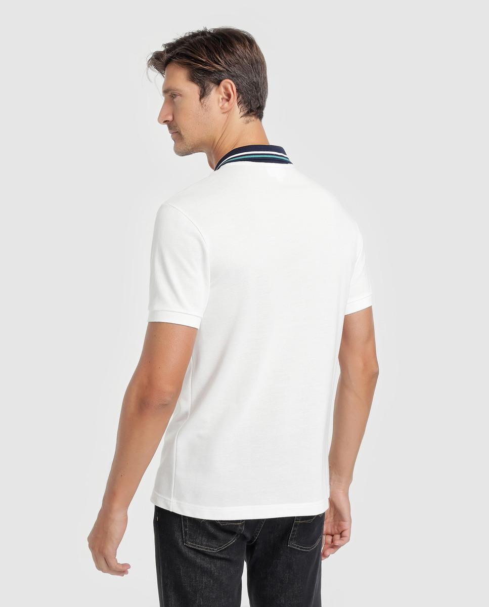 b18a165f42 Lyst - Lacoste White Striped Polo Shirt in White for Men