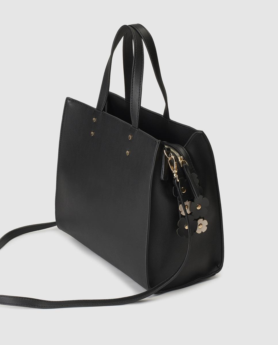 f67cb92079 El Corte Inglés Black Handbag With Raised Flowers in Black - Lyst