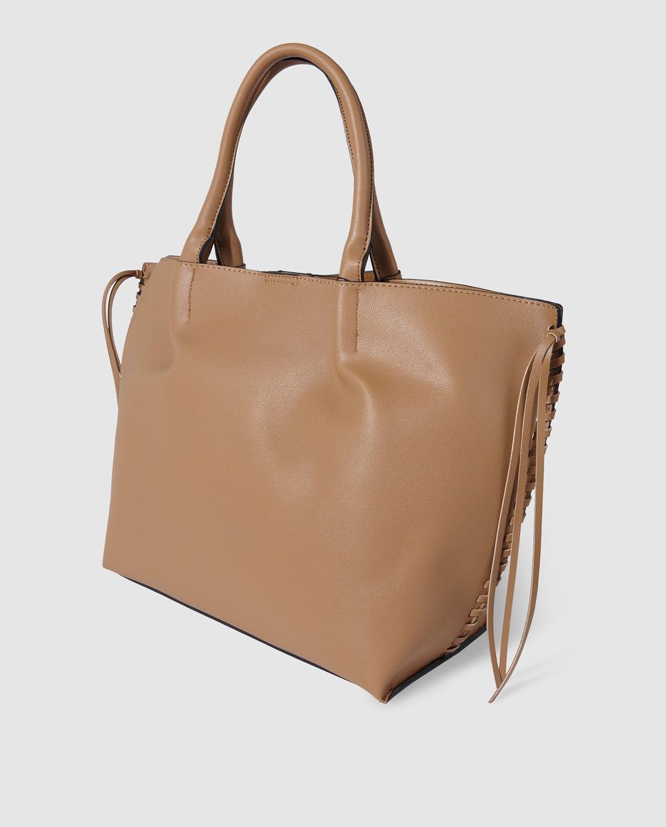 cc620f27cff09 El Corte Inglés Large Camel Shopper Bag With Side Plaiting in Brown - Lyst
