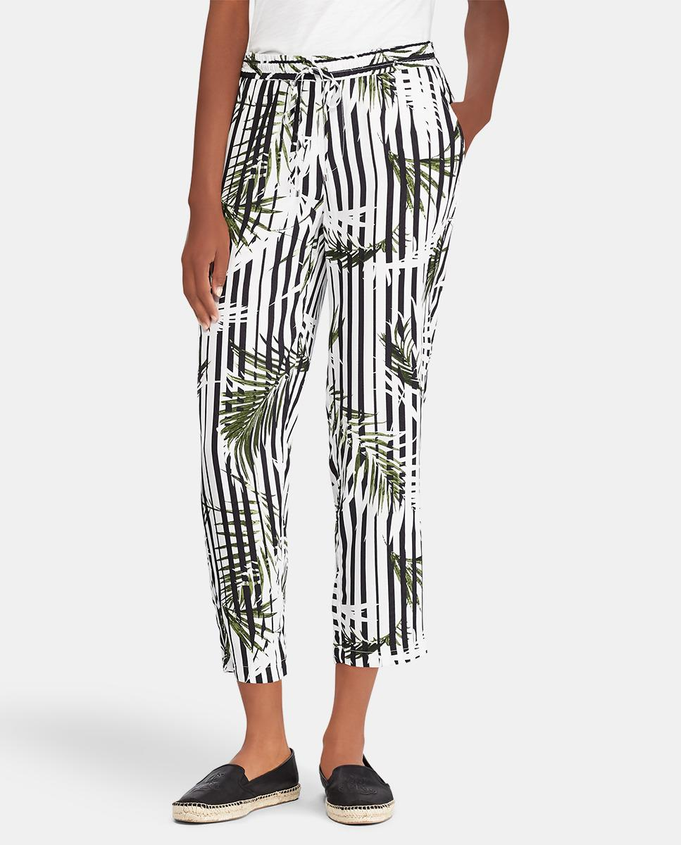 91f74e54b Lauren by Ralph Lauren Striped Capri Trousers With Leaf Print - Lyst