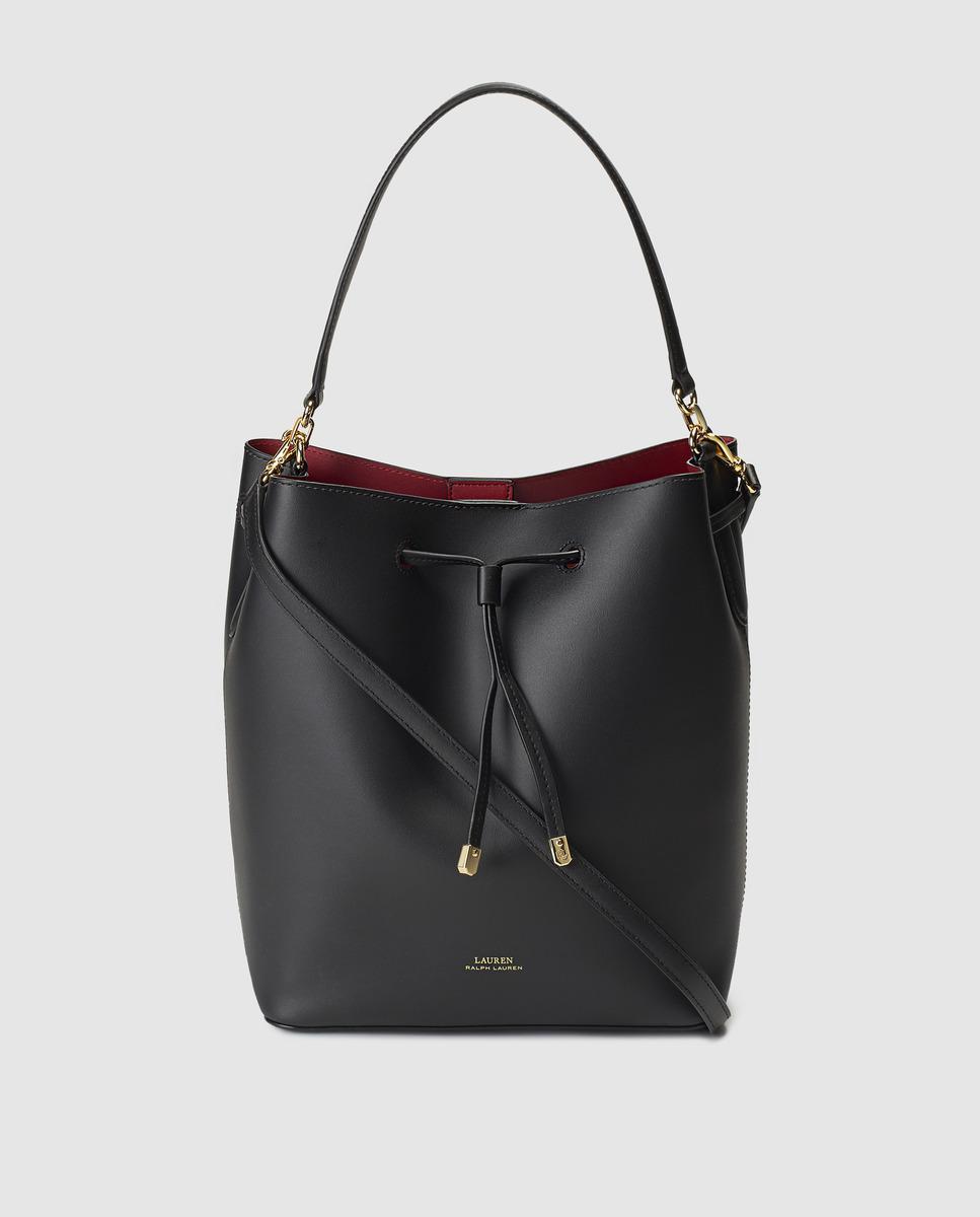 Lauren by Ralph Lauren. Women s Black Calfskin Leather Bucket Bag With Red  Interior.  271 From El Corte Ingles df1650e131