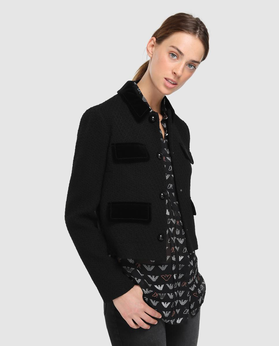 Emporio Armani Black Jacket With Snap Button Fastening in Black - Lyst ff03cb91480