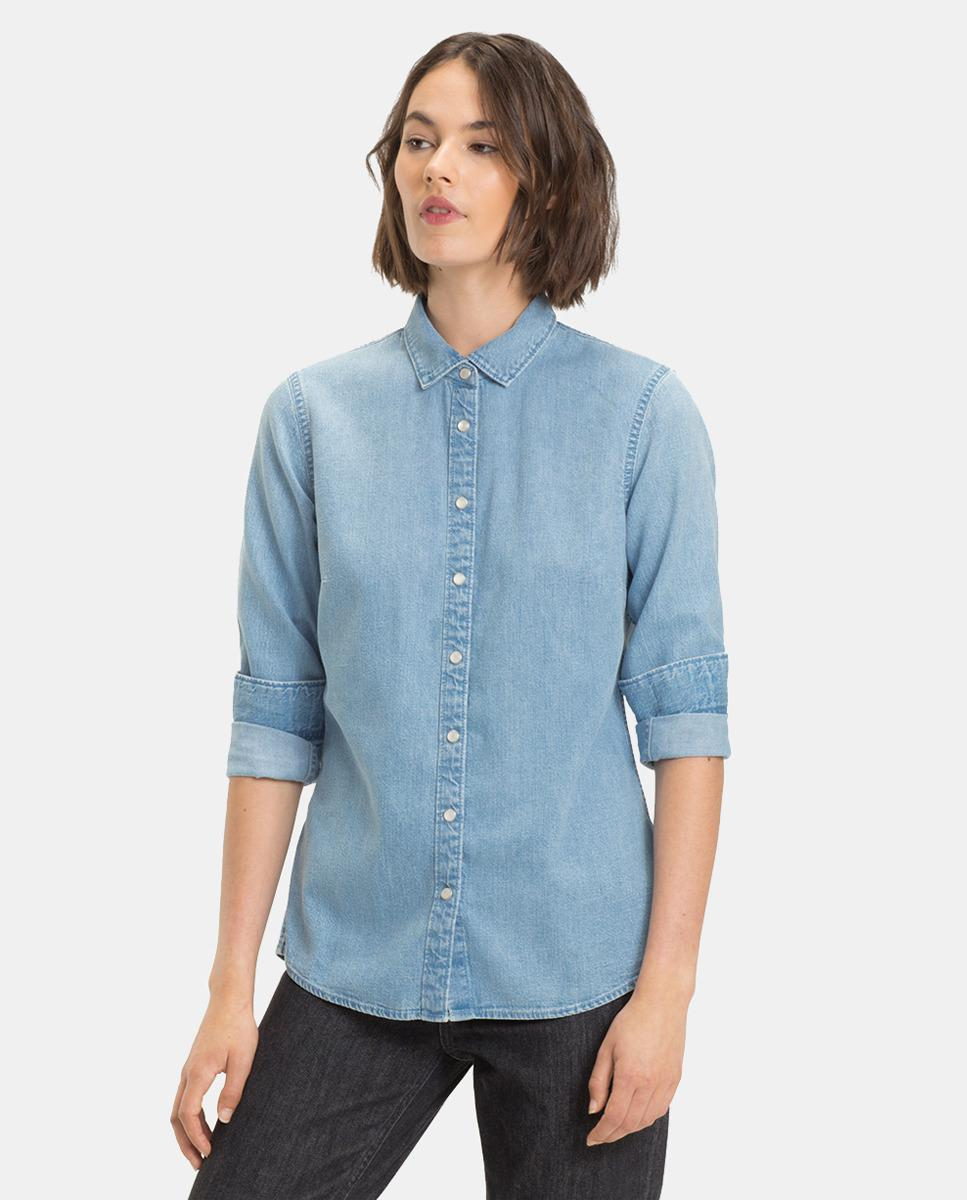 c3a1c640df76 Lyst - Tommy Hilfiger Long Sleeve Denim Shirt in Blue