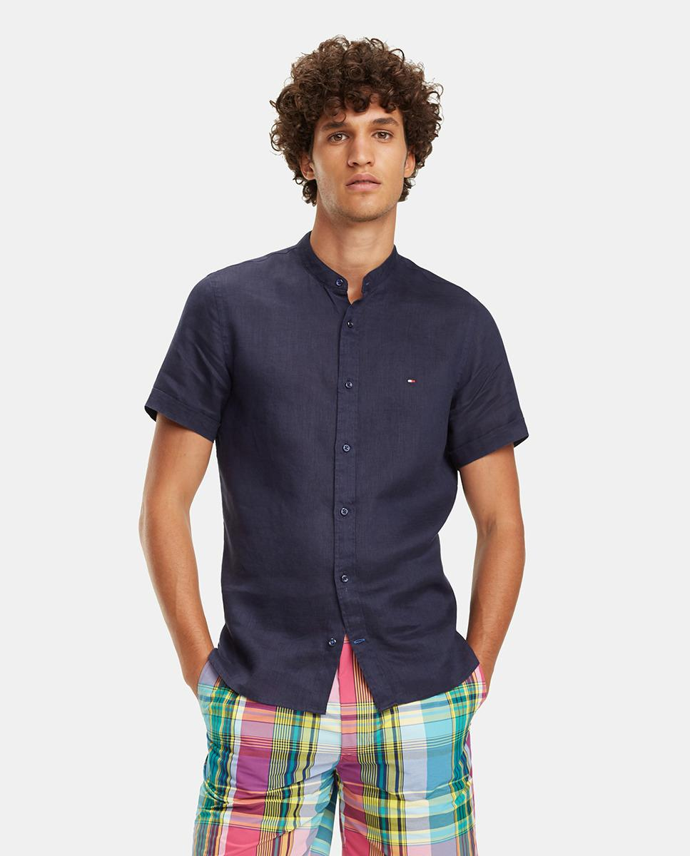 9edf4c02 Lyst - Tommy Hilfiger Slim-fit Plain Blue Linen Shirt in Blue for Men