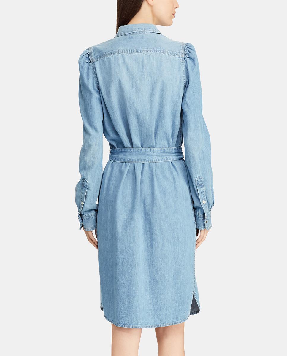 35738e099b Lyst - Lauren by Ralph Lauren Denim Shirt Dress in Blue - Save 51%