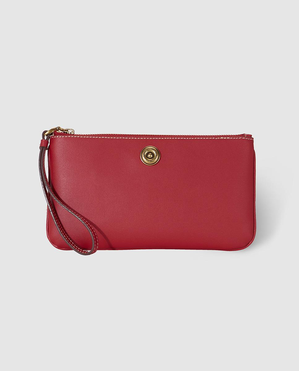 ffa106a8f828 Lyst - Lauren By Ralph Lauren Red Leather Clutch With Zip in Red