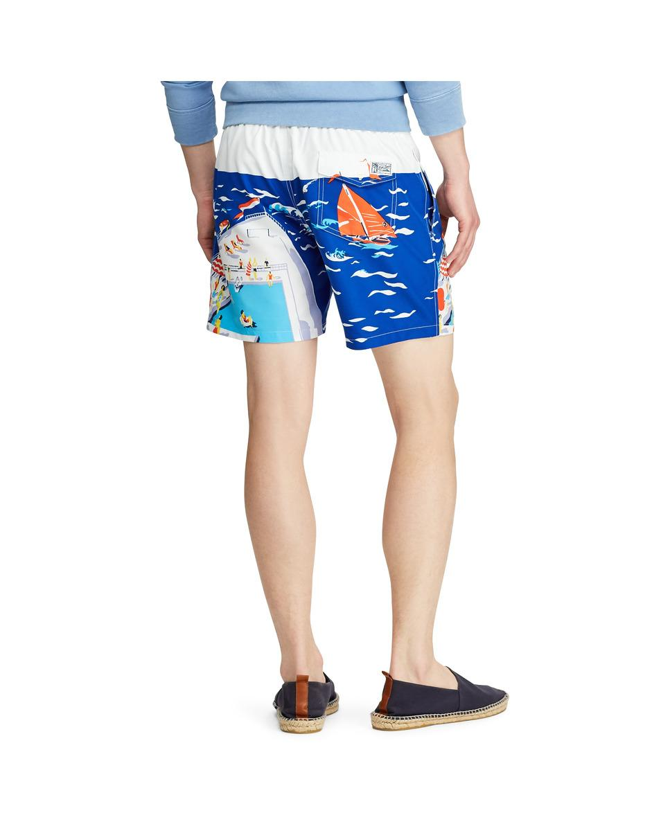 8ff9a5d9cc Polo Ralph Lauren Blue Printed Swim Trunks in Blue for Men - Lyst