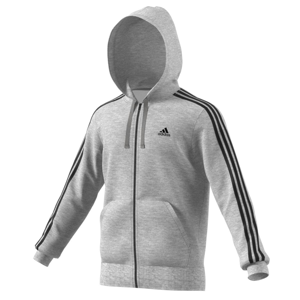 18a50eed03c0 adidas Classics 3s Fz Brushed Sweatshirt in Gray for Men - Lyst
