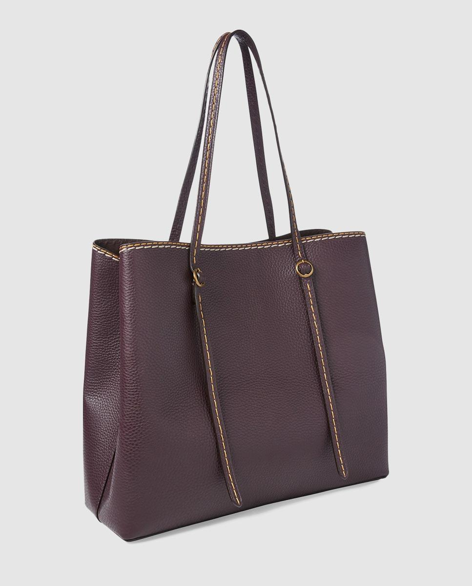 5ce242ccfde Polo Ralph Lauren Burgundy Leather Tote Bag in Purple - Lyst