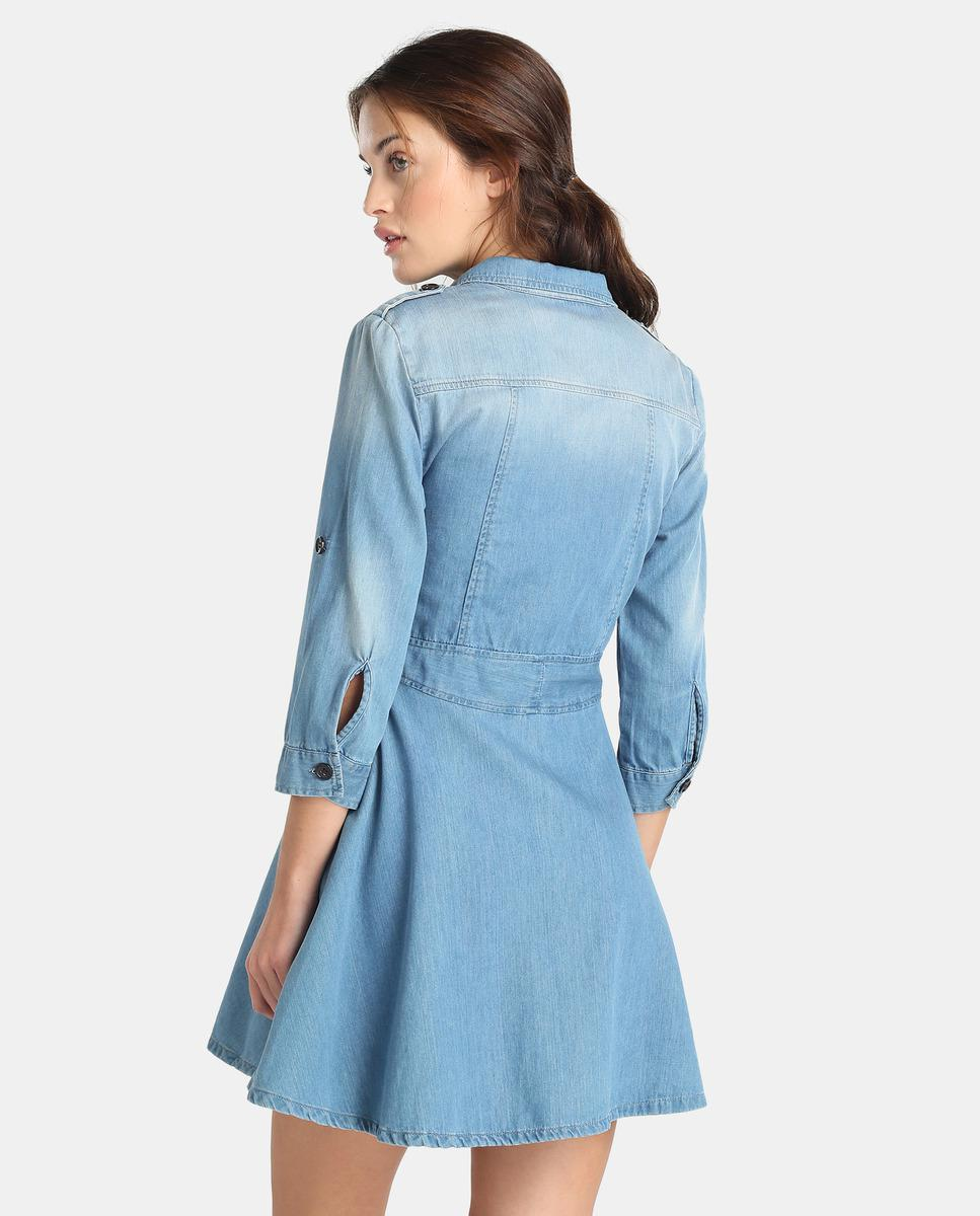 14d080f2d6f Armani Exchange Denim Shirt Dress in Blue - Lyst
