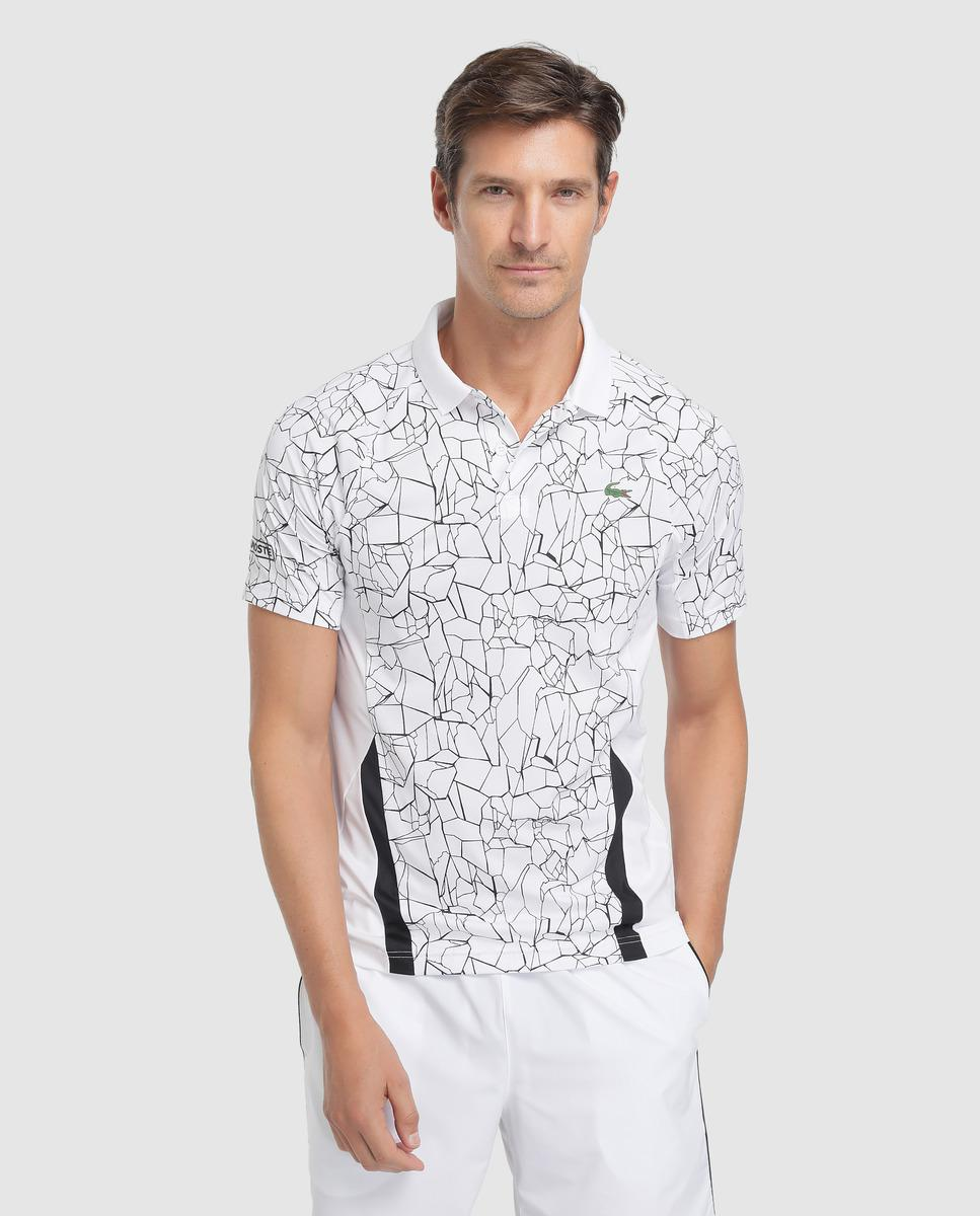87c7103d49 Lacoste White Printed Polo Shirt in White for Men - Lyst