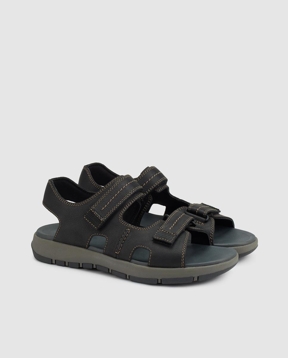 60d4f3c6755f Lyst - Clarks Black Leather Sandals in Black for Men