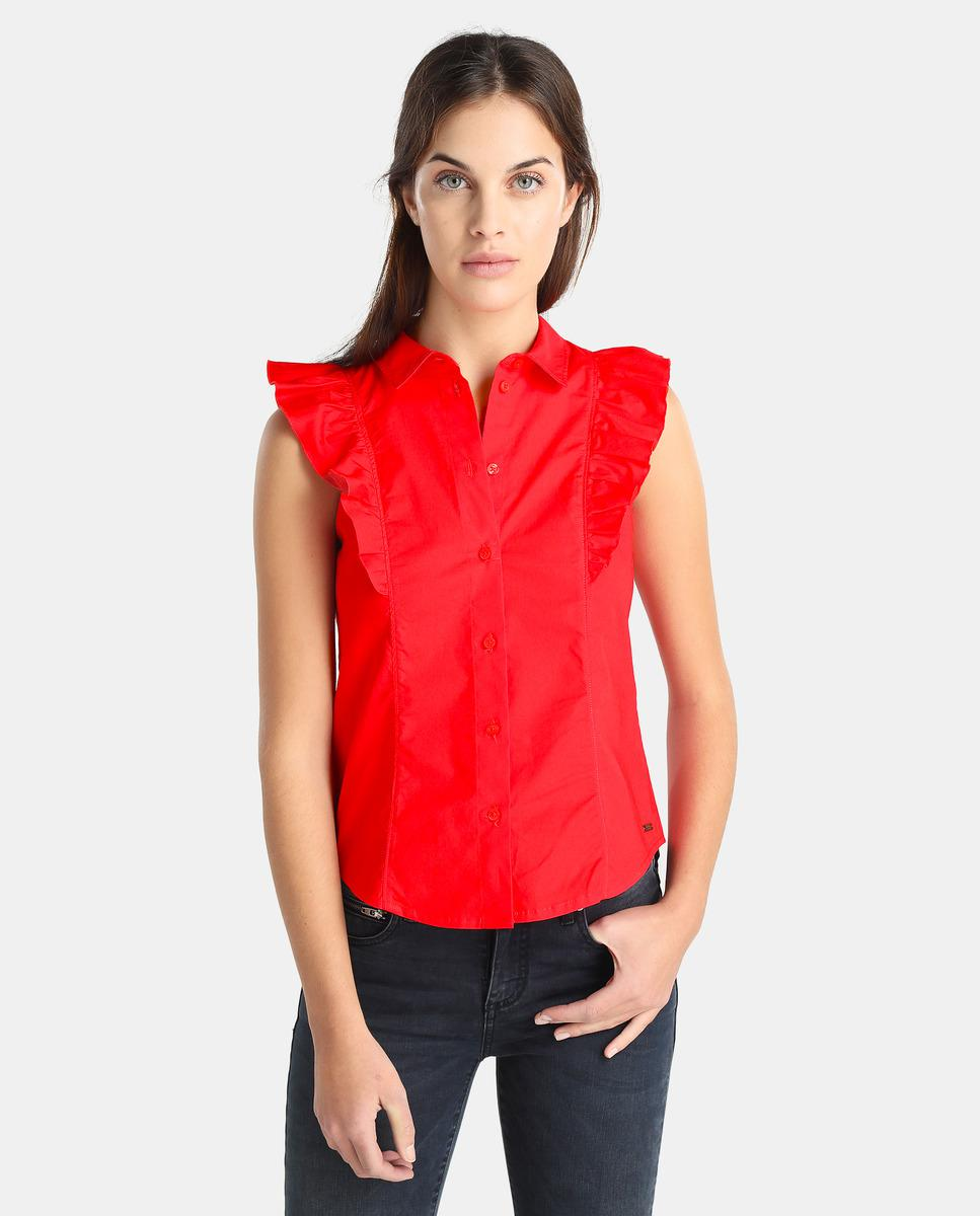 157310a5753645 Lyst - Armani Exchange Poplin Blouse With Frills in Red