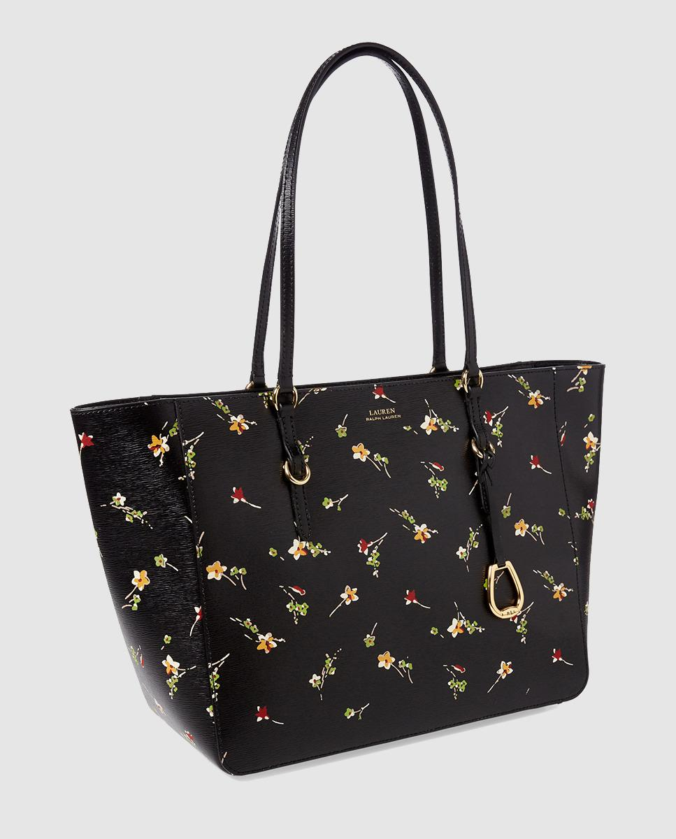 374efdb70d96 Lauren by Ralph Lauren Small Black Leather Tote Bag With Floral ...