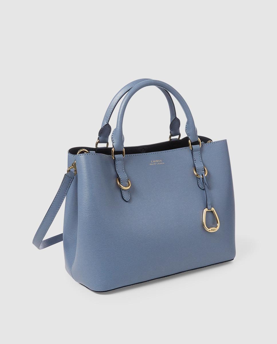 78bc3d1564e9 Lyst - Lauren by Ralph Lauren Light Blue Cowhide Leather Handbag With  Pendant in Blue