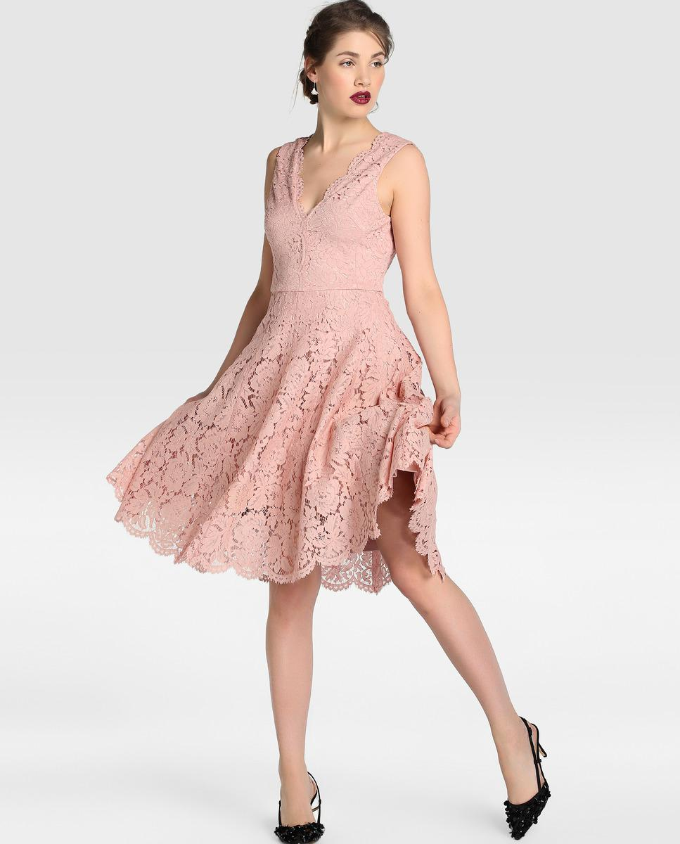 Lyst - Vera Wang Lace Evening Dress With Flared Skirt in Pink